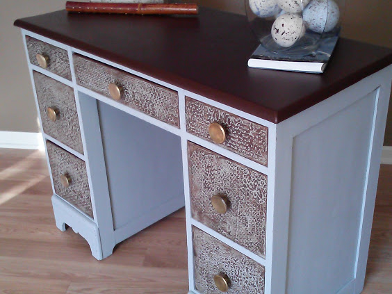 salvaged-wood-desk-with-leather-top-bubble-wrap-plaster-texture