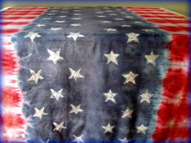 Faux Batik Tie Dye Stars and Stripes Table Cloth