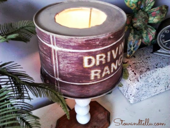 Tin bucket lamp shade on a golf themed lamp - Stowandtellu