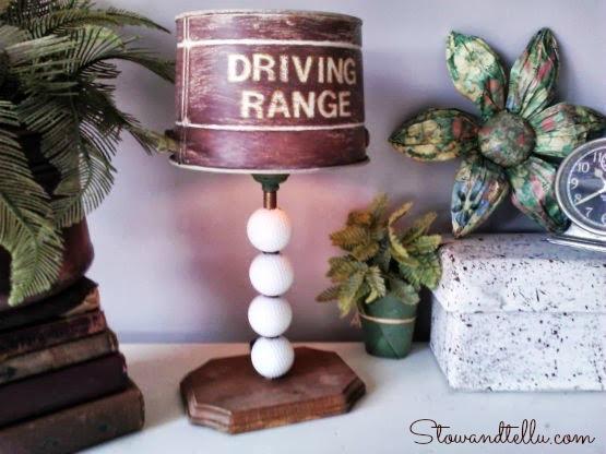 tin bucket lamp shade on a golf themed -StowandTellU