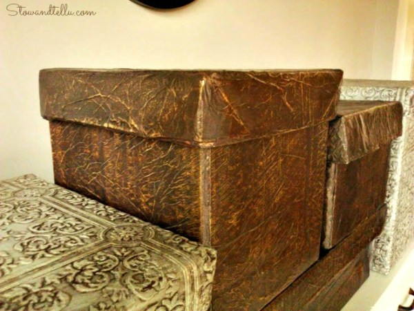 How to get a raw hide-faux leather look with tissue paper and decoupage - StowandTellU
