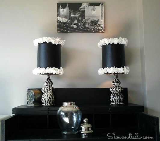 DIY Ruffled Trimmed Glam-Lamp shade-StowandTellU