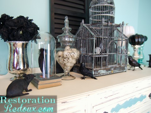 Haunted Halloween Home Tour - Turquoise mantel - Restoration Redoux