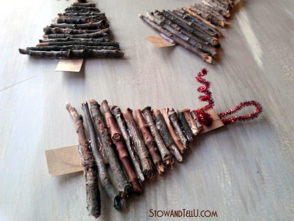Rustic twig and cardboard Christmas tree ornaments - StowandTellU