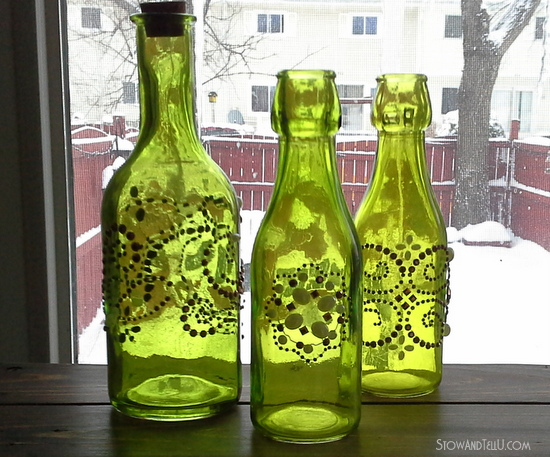 Copper and green beaded bottles made with Michaels supplies