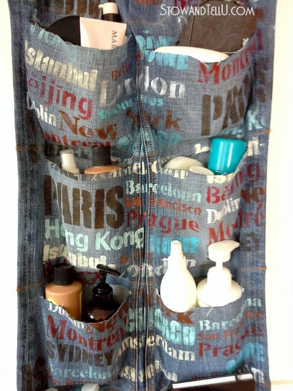 upcycled-blue jean hanging travel organizer-ps10