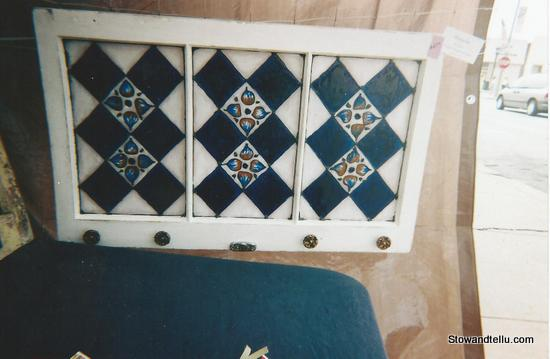 Faux  stained glass painting-cobalt-blue-pattern