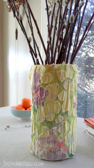 salvaged and outdated blouse repurposed as a spring vase-StowandTellU