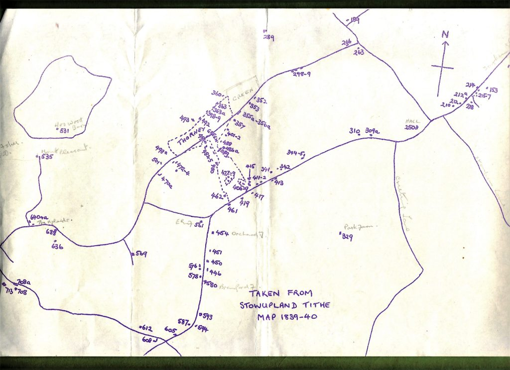 outline of 1880 Stowupland roads