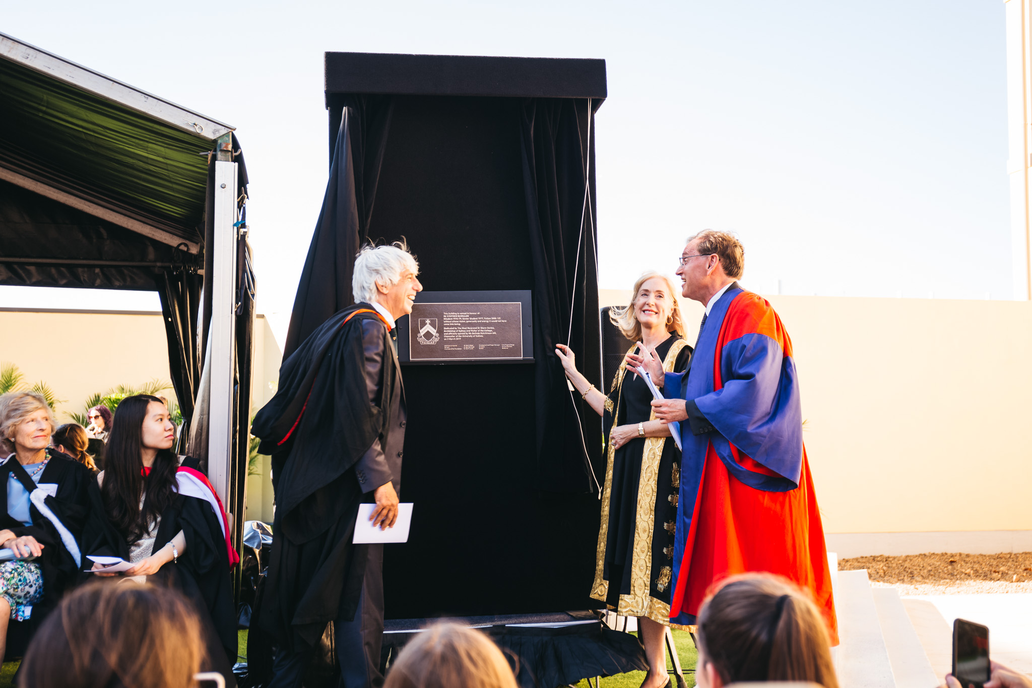 The Chancellor of the University, Ms Belinda Hutchinson AM, with Mr Stephen McMillan and Dr Don Markwell on Sunday.