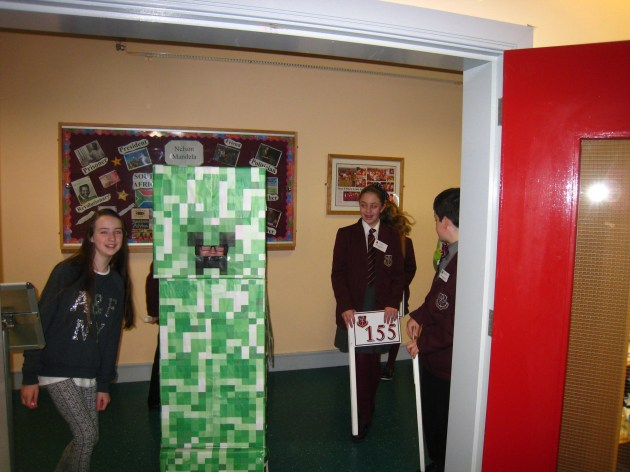 Minecraft Creeper escorting the P7 Pupils to the library