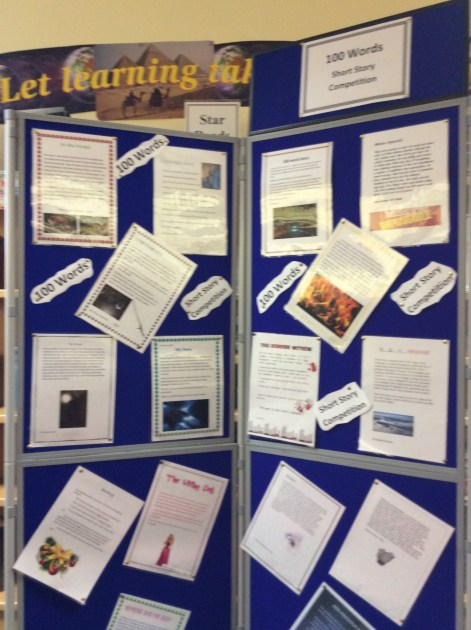 Some of the wining stories displayed in library