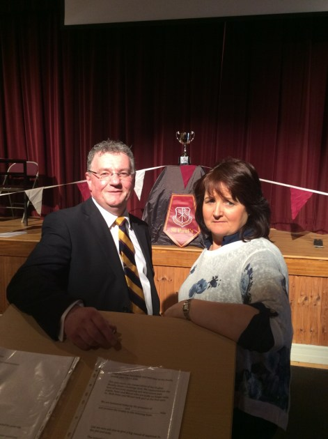 Mr Gerard McMahon, Quiz Organiser and Mrs Mary McKenna, Score Keeper