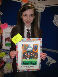 Year 9 pupil, Orlaith McDonnell, winner of the Book Cover Competition