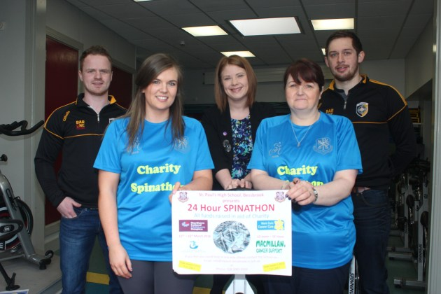 Paul McKeown and Johnny Hanratty from Crossmaglen Rangers with Jenay Doyle from the NI Children's Hospice, Aoidin D'Arcy and Mary McKenna from St Paul's