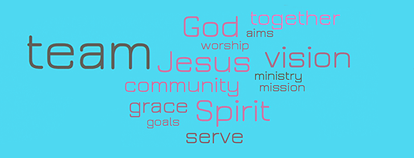Team image of goals for the leadership teams at St Paul's Church Worcester - community, enjoying God's grace and extending His kingdom.