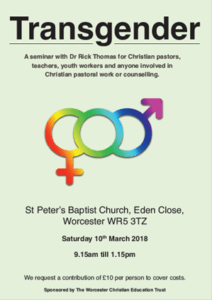 transgender event at St Peter's Baptist Church