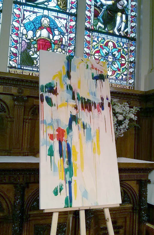 """The third painting to be embedded in our liturgy at St. Paul's is titled """" all saints"""" and is the fourth of a newly emerged theme of paintings in Ian's studio work at Parish House."""