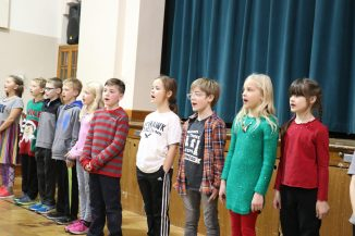 3rd Graders sing at Adult Senior Lunch