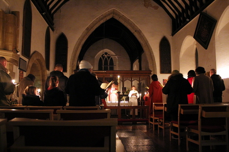 Candle-lit church
