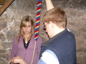Photo: Heather being trained to ring by trainer John