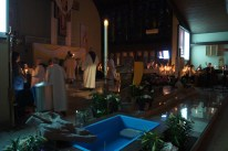 Celebrants arrive on the altar