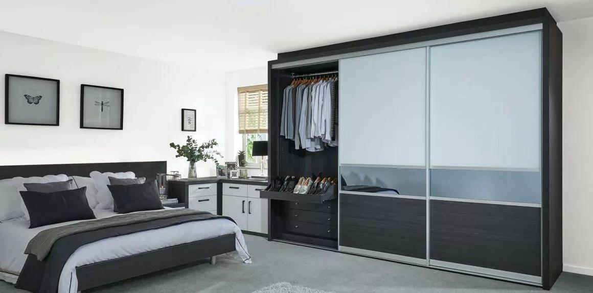 sliding doors grey black white fitted