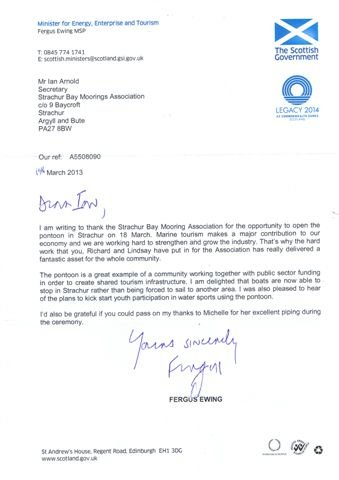 Letter to the Association following the opening