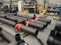 The polyethylene tubes which give the pontoon bouyancy with the anchor strops being positioned in the factory