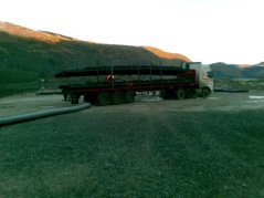 The pontoon arriving at Cairndow ready for final assembly