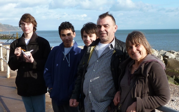 Alfred and his boys with Annie at Sidmouth