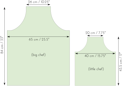 measurements finished apron