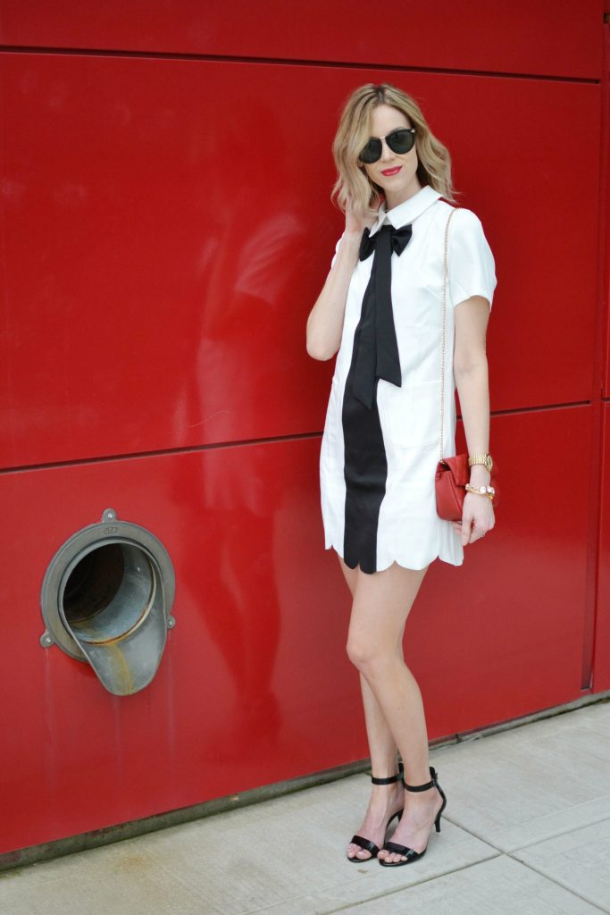 black and white bow dress
