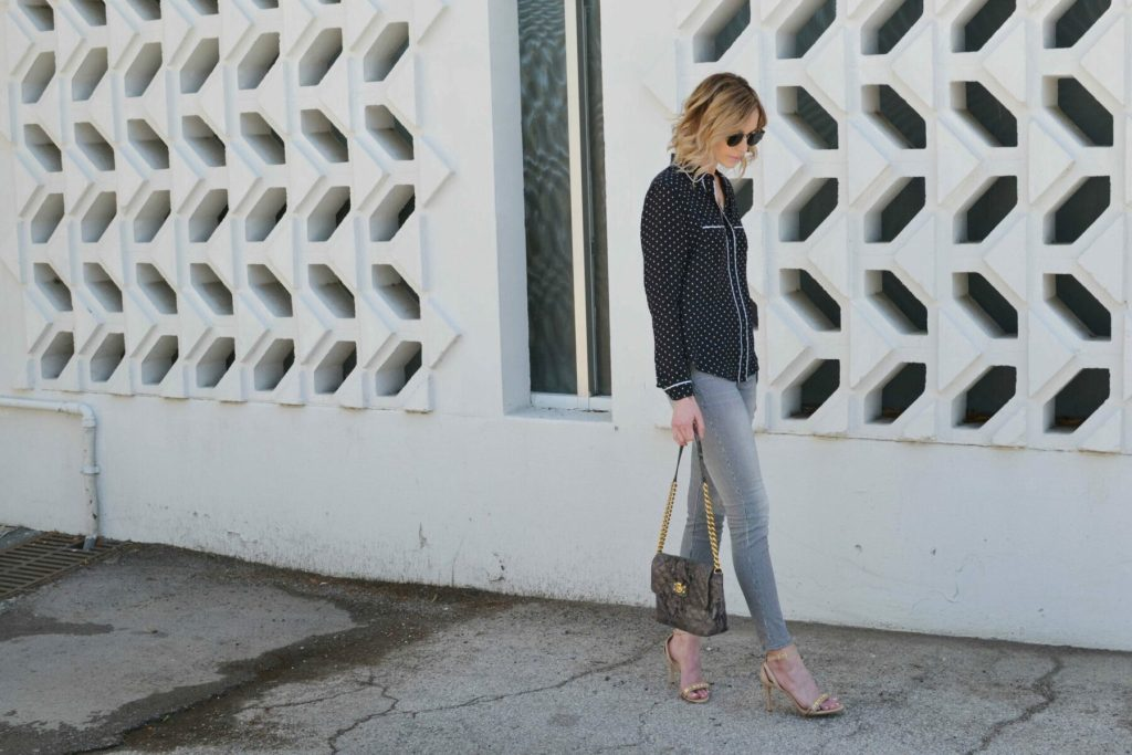 striped jeans, pj shirt, ditto sunglasses, jlynn necklace