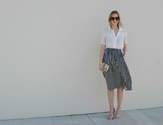striped skirt, white blouse, karen walker sunglasses full length