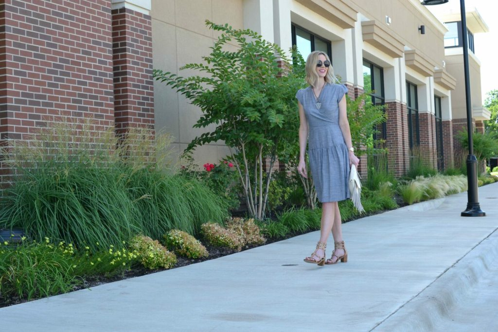 Shabby Apple dress, fringe bag, Dion sandals, Row sunglasses