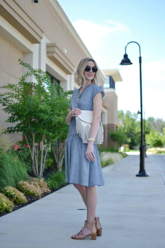 Shabby Apple dress, fringe bag, Row sunglasses, dion sandals