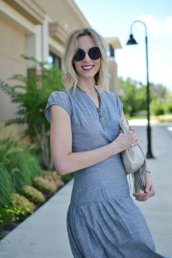 Shabby Apple dress, fringe bag, Row sunglasses, handchain