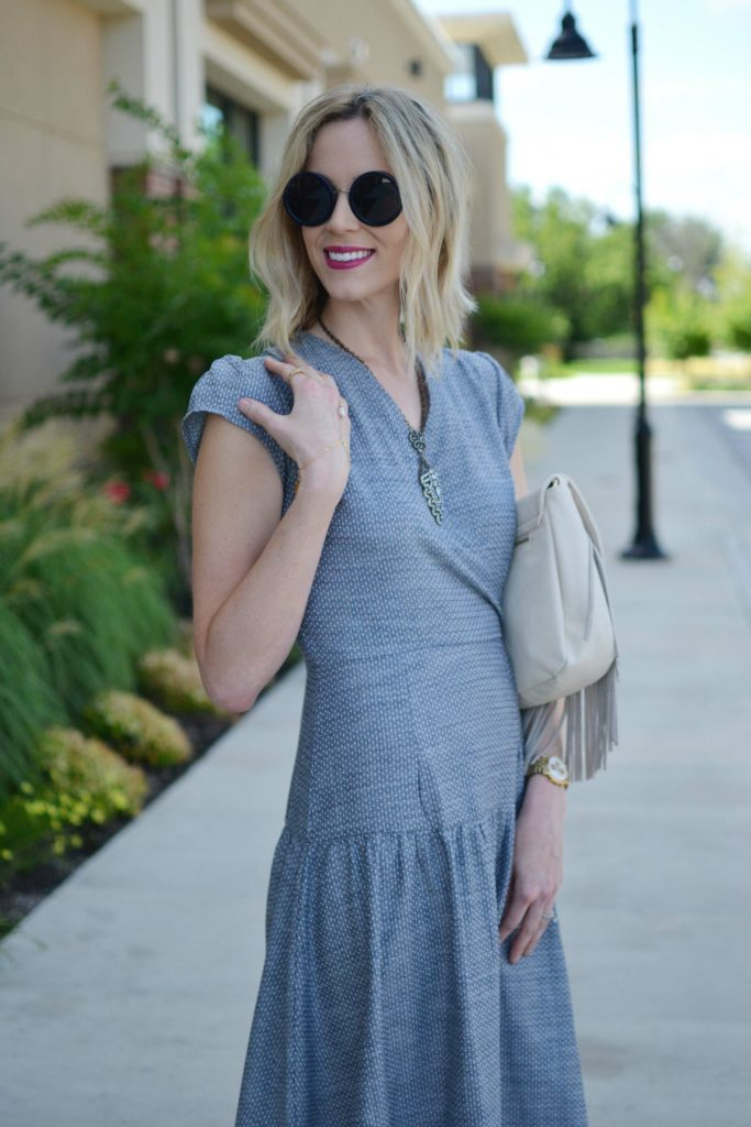Shabby Apple dress, fringe bag, Row sunglasses