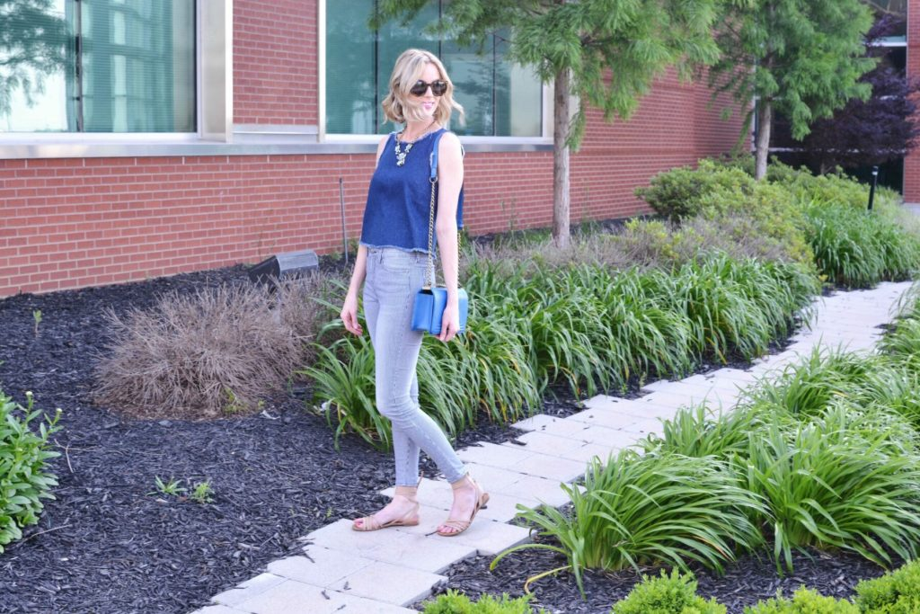 denim tank, striped jeans, sandals, blue bag, karen walker sunglasses 7