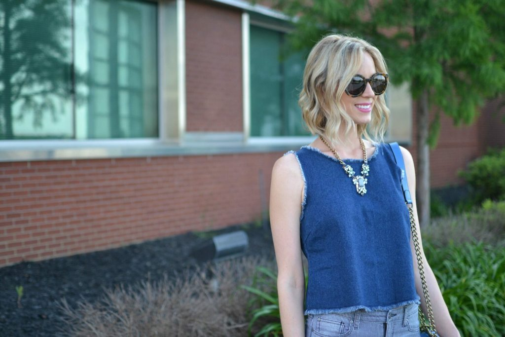 denim tank, striped jeans, sandals, blue bag, karen walker sunglasses details
