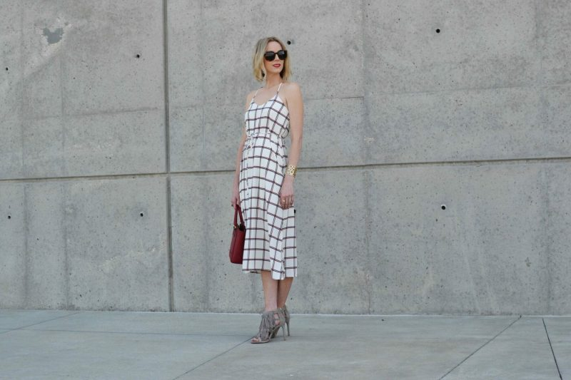LuLu*s striped dress, Steve Madden fringe heels, red coach bag, karen walker sunglasses 1