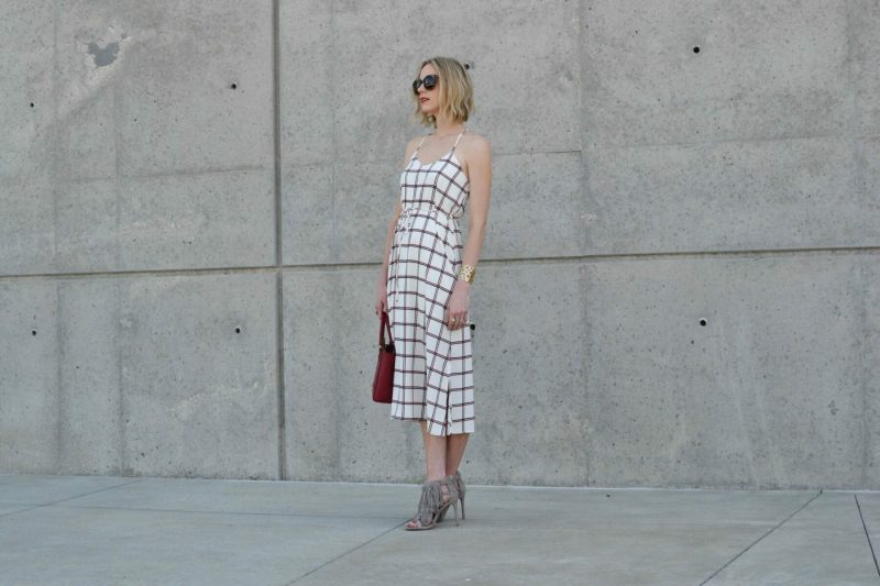 LuLu*s striped dress, Steve Madden fringe heels, red coach bag, karen walker sunglasses 2