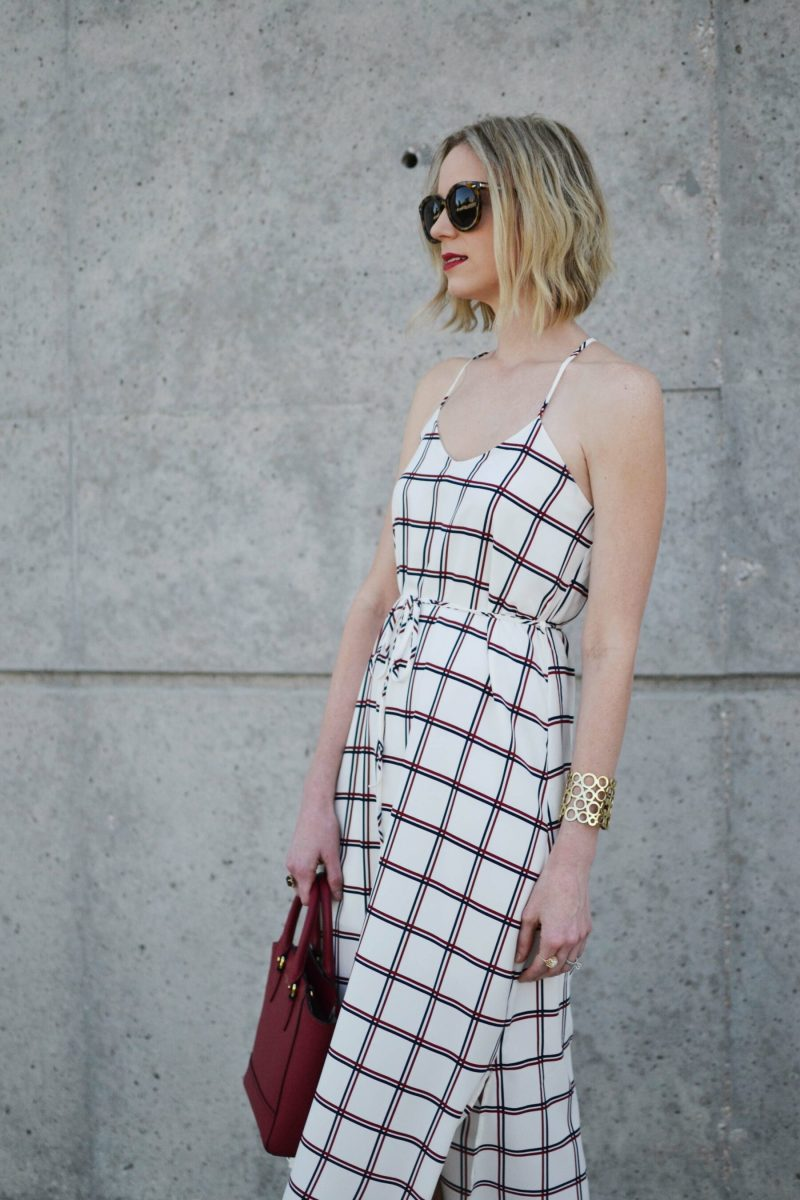 LuLu*s striped dress, red coach bag, karen walker sunglasses