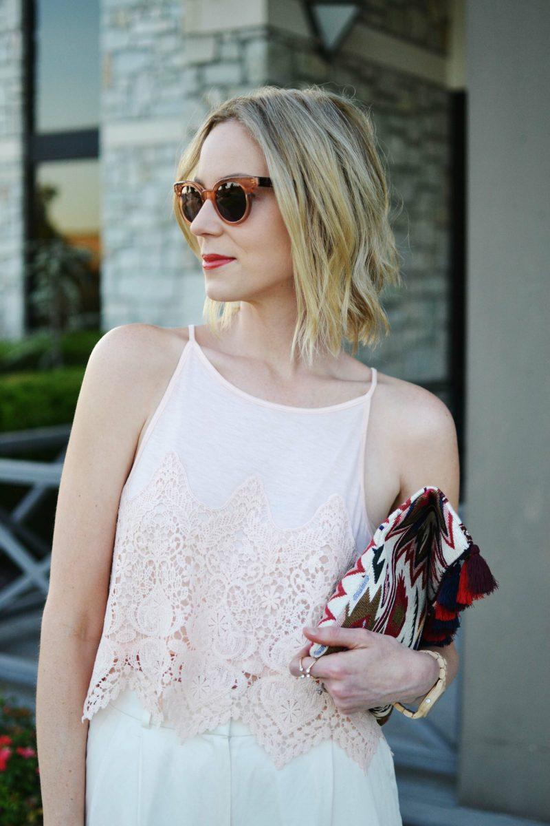 lookbook blush top, sole society tassel clutch, raen sunglasses