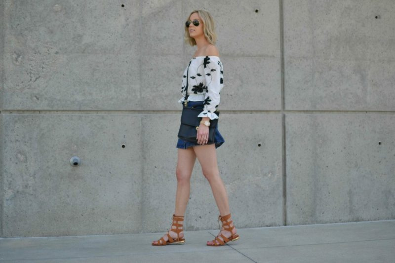 shein jean skirt, lookbook off the should top, choies gladiator sandals, ray-Ban aviators, coach bag