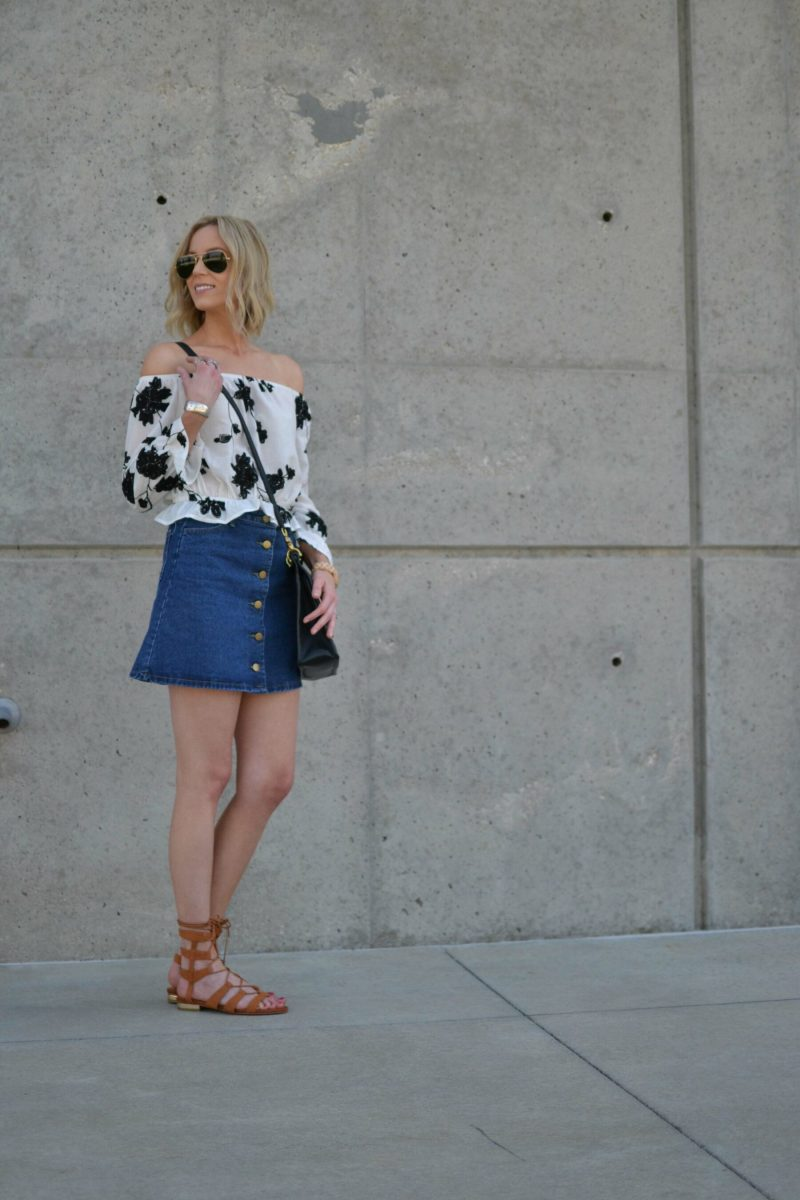 shein jean skirt, lookbook off the should top, choies gladiator sandals2
