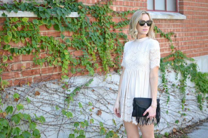 cream lace babydoll dress, fringe bag