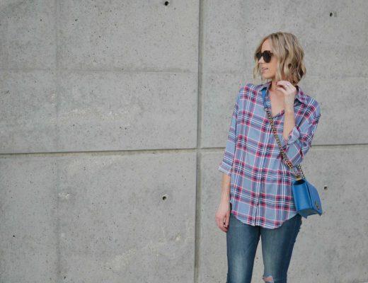 plaid shirt, jeans, blue bag