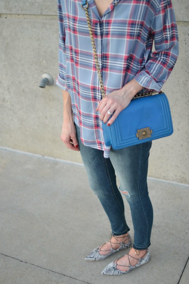 plaid shirt, jeans, snakeskin flats, blue bag